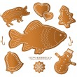 Royalty-Free Stock Vector Image: Christmast gingerbread figure fish carp pig