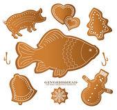 Christmast gingerbread figure fish carp pig — Stock Vector