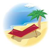 Tropical coast with palm and deck chair — Stock Vector