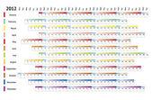 Lineární kalendář 2012 — Stock vektor
