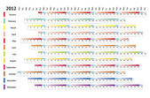 Liniowy kalendarz 2012 — Wektor stockowy