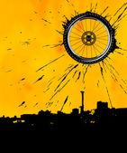 Bike wheel as the sun — Stock Vector