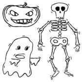 Set of hand drawn halloween characters — Stock Vector