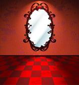 Infernal interior with mirror — Stock Vector