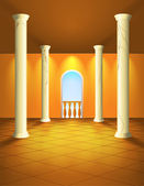 Lightened hall with columns — Vector de stock
