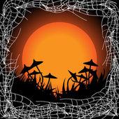 хэллоуин кадр с грибами — Cтоковый вектор