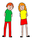 Chlapec a dívka stojící — Stock vektor