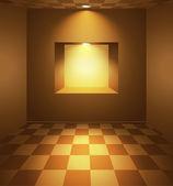 Chambre marron avec niche et lumières dorées — Vecteur