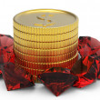 Golden coins and ruby gems — Stock Photo #7256626