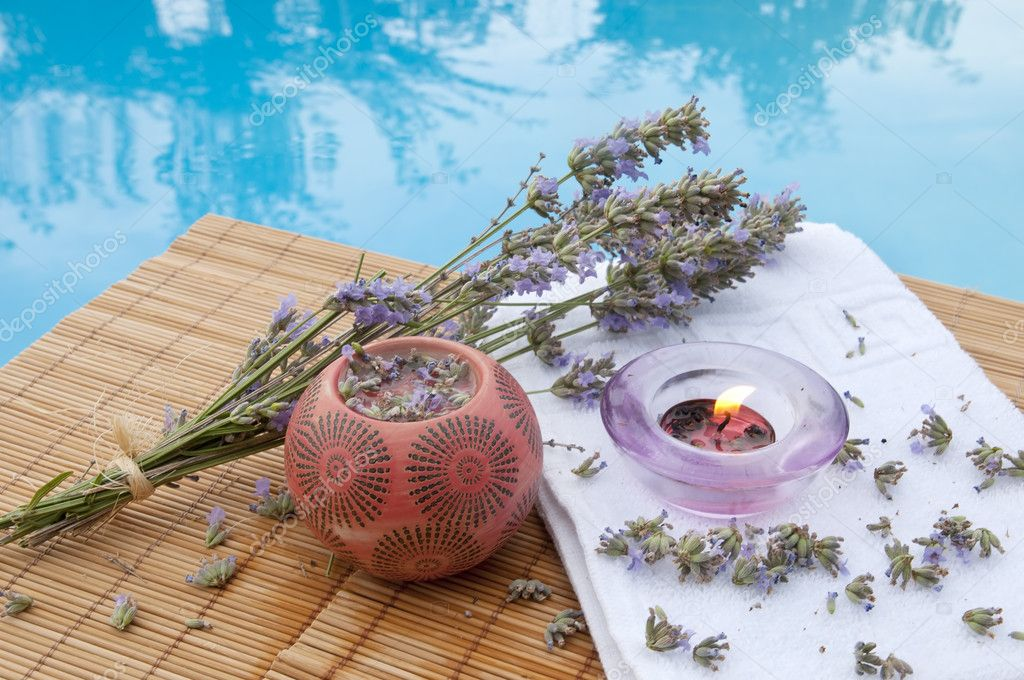 Spa background with lavender herbs   Stock Photo #6820358