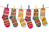 Socks on the clothesline — Stock Photo