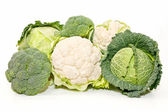Cabbage, cauliflower and broccoli — Stock Photo