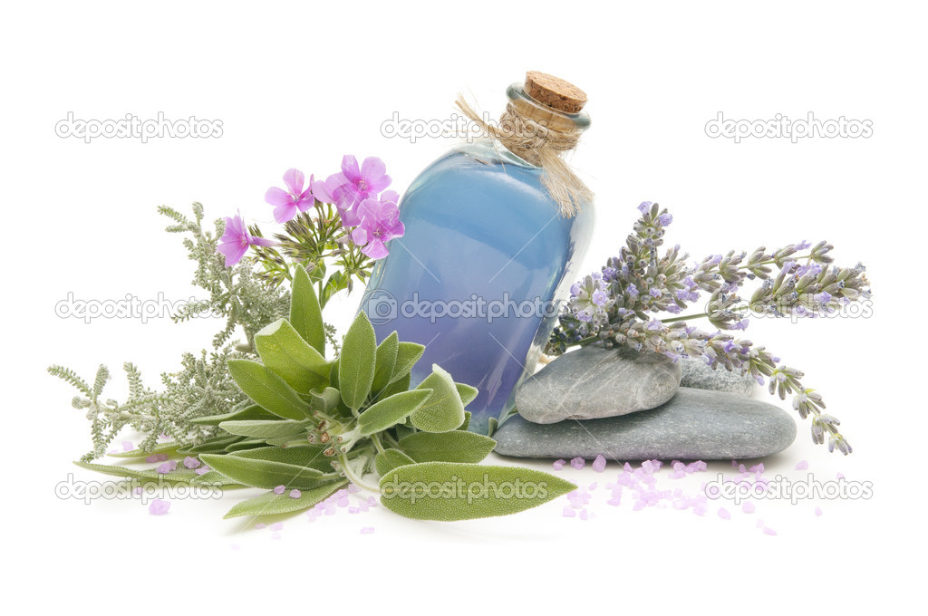 Spa still life with perfumes and aromatic herbs — Stock fotografie #7094302
