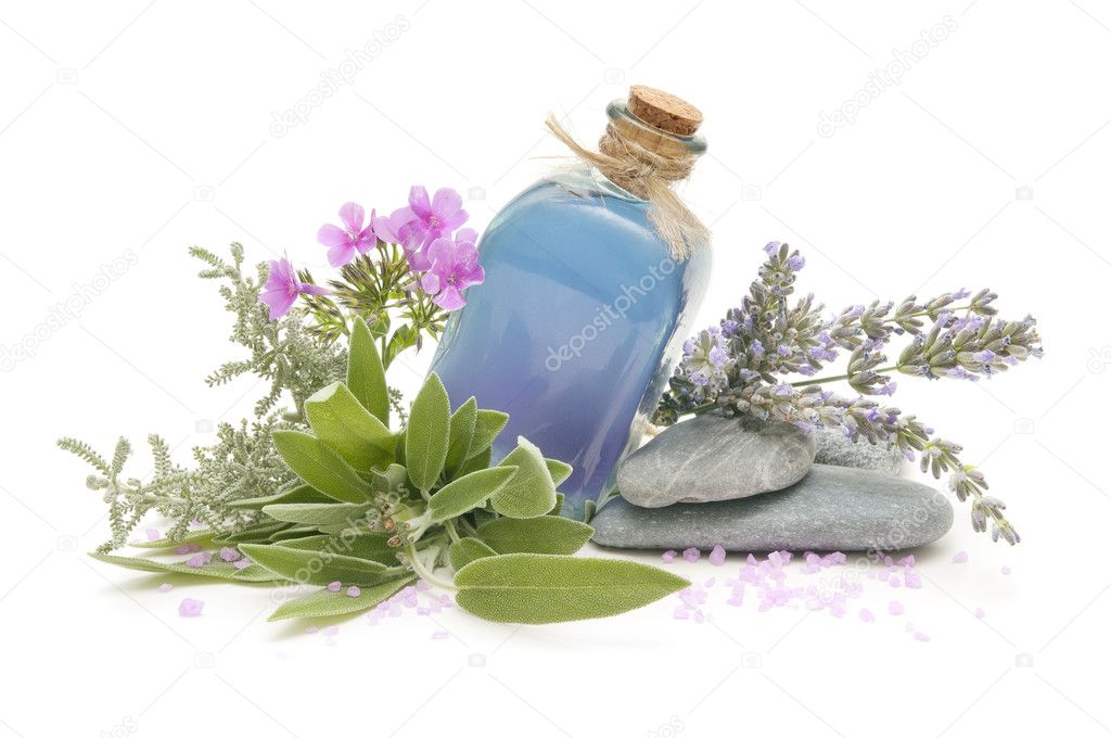 Spa still life with perfumes and aromatic herbs    #7094302