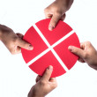 Red circle on white puzzle — Stock Photo