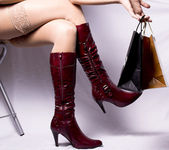 Red boots, Sheer, — Stock Photo