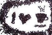 I love coffee coffee grains shape — Foto Stock