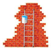 Ladder and brick wall — Stock Vector