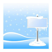Frozen sign with icicles on winter background — Stock Vector