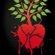 Tree with red heart — Stockvektor