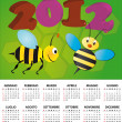 Stock Vector: 2012 bee calendar italian