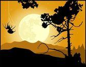 Fullmåne natten landskap bakgrund — Stockvektor