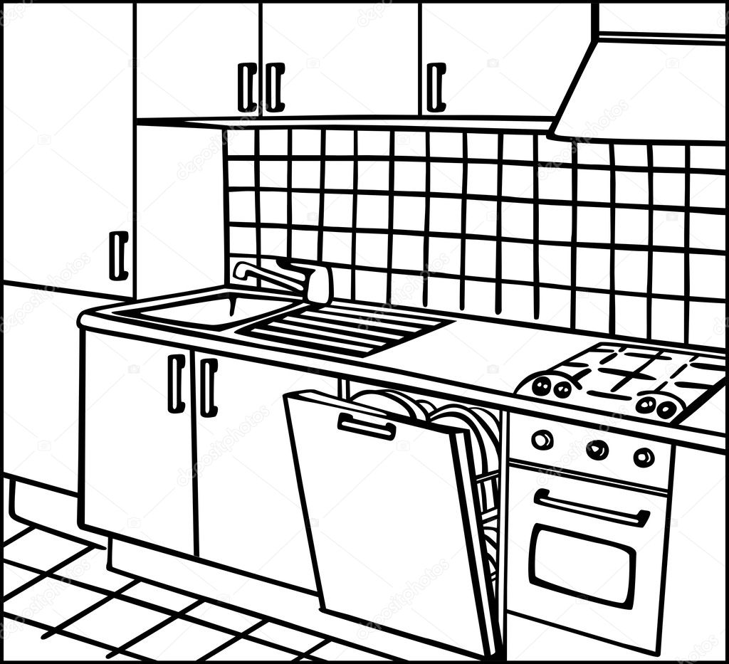 Brilliant Kitchen Line Drawing Room 1024 x 933 · 187 kB · jpeg