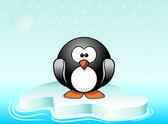 Illustration of cute penguin standing on iceberg — Stock Vector
