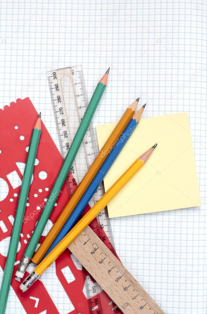 Notebook and school accessories: pencils, rulers. — Stock Photo #6911704