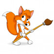 Cute little cartoon fox with paintbrush — Stock Vector #6807789