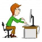 Cartoon funny boy and computer — Stock Vector