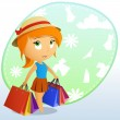 Cute beauty girl in the cap with shopping bags — Stock Vector #6807871