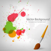 Colorful paint background with paintbrush — Stock Vector