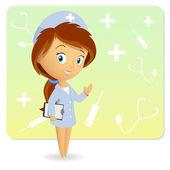 Jolie infirmière avec notepad tablet sur fond — Vecteur