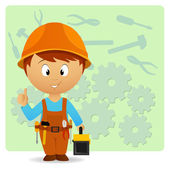 Cartoon handyman with tools on industry background — Stock Vector