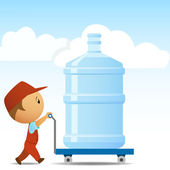 Delivery man with big bottle of water on background — Stock Vector