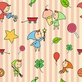 Seamless fairy children pattern — Stock Vector