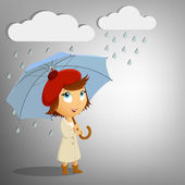 Young woman with umbrella on rain background — Stock Vector