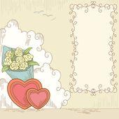 Corações abstratos com buquê flores e banner — Vetorial Stock