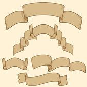 Retro ribbon banner set design element — Stock Vector