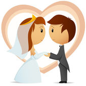 Cartoon bride and groom hold hand each other — Stock Vector