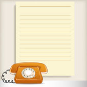 Retro style telephone with blank note page — Stock Vector