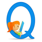 Letter Q with sitting reading cute girl — Stock Vector