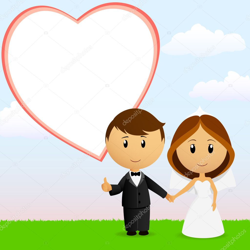 Cute cartoon wedding couple with background stock illustration