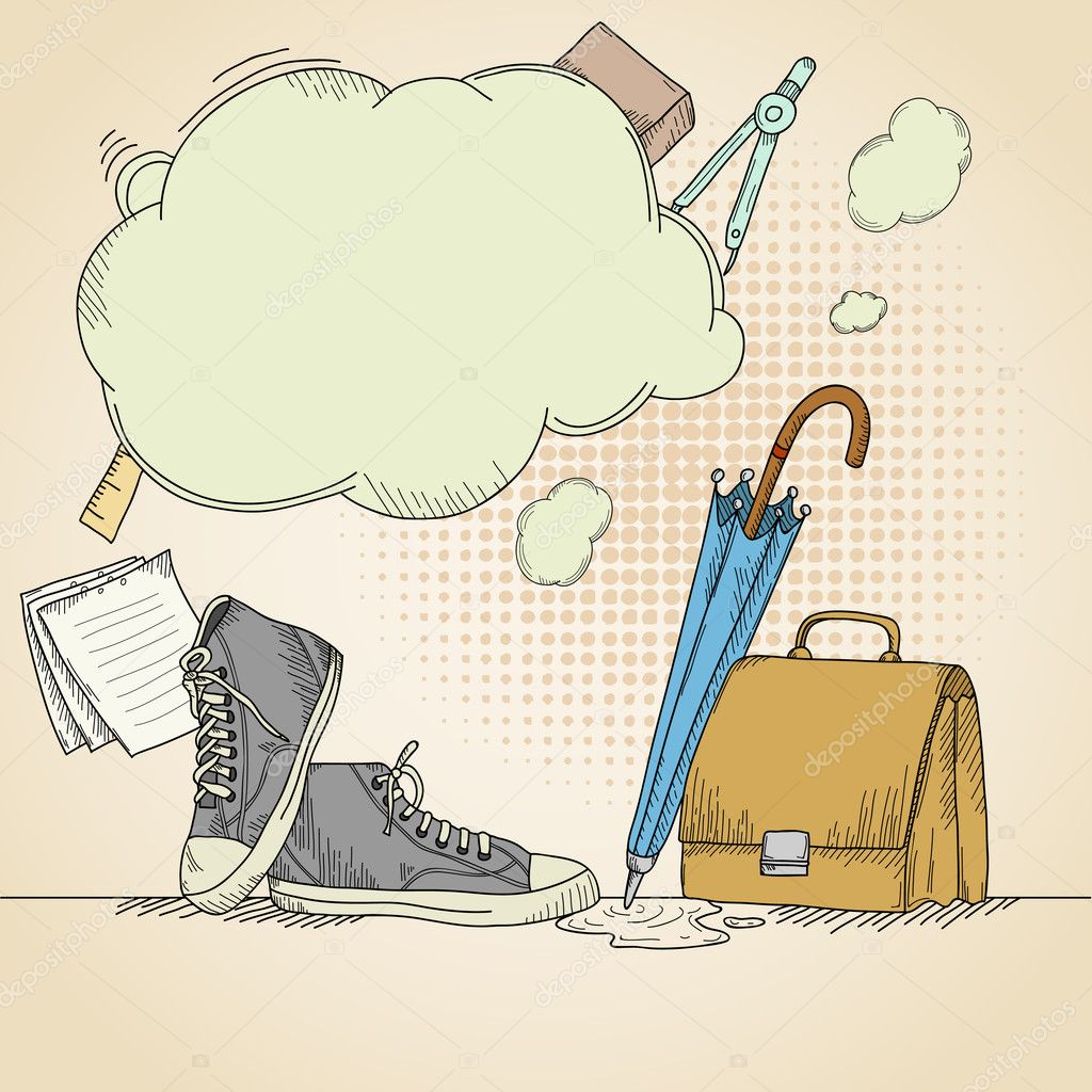 Abstract hand drawn school background with sneakers. Vector illustration.  Stock Vector #6807897