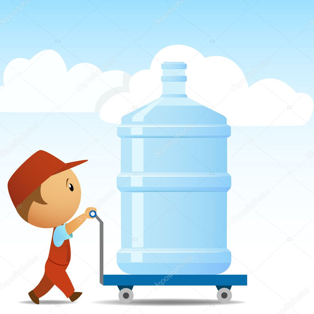 Delivery man with big bottle of water on background. Vector illustration.  Imagens vectoriais em stock #6807908