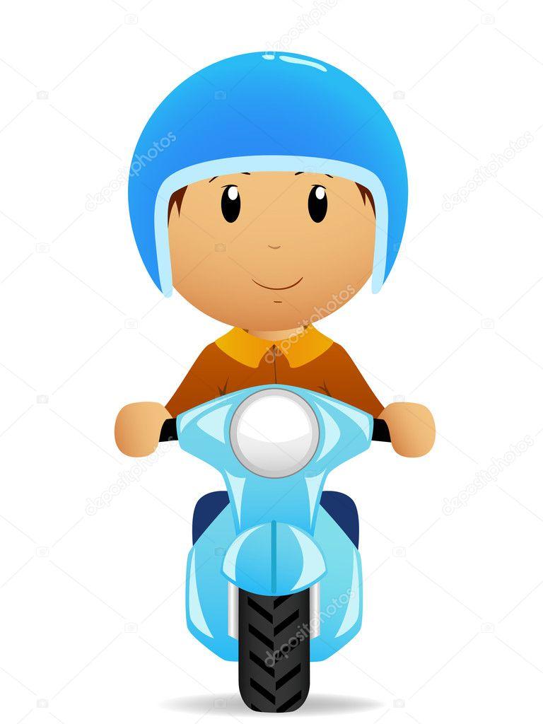 Cartone animato uomo corsa su moto scooter — vettoriali