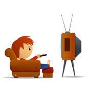 Karikatura člověka dívat se na televizi — Stock vektor