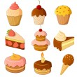 Set of cartoon cake isolated on white - Stock Vector