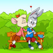 Vector de stock : Little mouse kissing shy rabbit on bush background
